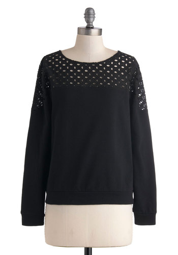 Tranquil Tuesday Sweater - Cotton, Mid-length, Black, Solid, Casual, Long Sleeve, Cutout, Travel