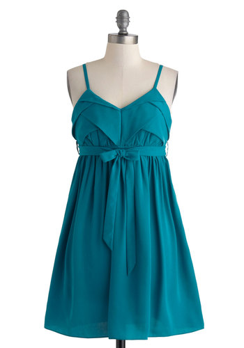 Aquarium Afternoon Dress - Mid-length, Blue, Solid, Belted, Casual, Empire, Spaghetti Straps, V Neck, Summer