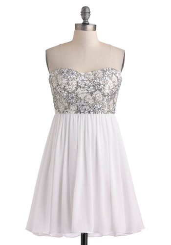 Savoir Fairy Tale Dress in Ice - White, Grey, Embroidery, Sequins, Prom, Empire, Strapless, Sweetheart, Party, Short, Variation