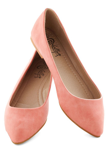 Defined the Scenes Flat in Coral - Coral, Solid, Flat, Variation, Work, Casual, Daytime Party, Minimal, Faux Leather, Top Rated