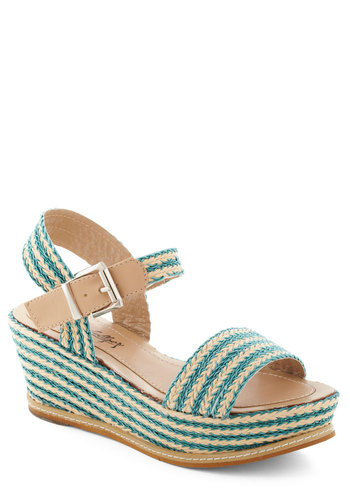 Get Your Braid in Gear Wedge - Blue, Braided, Platform, Wedge, Tan / Cream, Stripes, Daytime Party, Beach/Resort, Summer, Mid