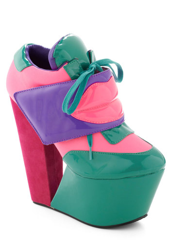 Tread My Lips Heel in Candy - Multi, Statement, Urban, High, Platform, Wedge, Lace Up, Vintage Inspired, 90s, Faux Leather, Variation, Quirky