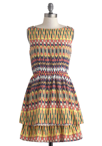Ceramics Exhibit Dress - Short, Multi, Print, Tiered, A-line, Sleeveless, Boat, Yellow, Casual, Vintage Inspired, 70s
