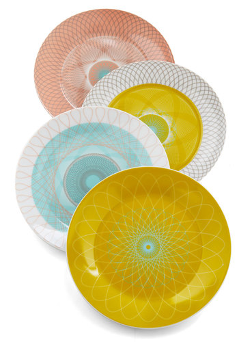 Swirl Talk Plate Set - Multi, Vintage Inspired, 60s, Mid-Century, Daytime Party