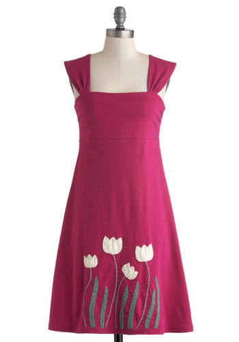Work of Art Class Dress - Mid-length, Pink, Green, White, Embroidery, Casual, Empire, Sleeveless, Eco-Friendly, Travel, Sundress