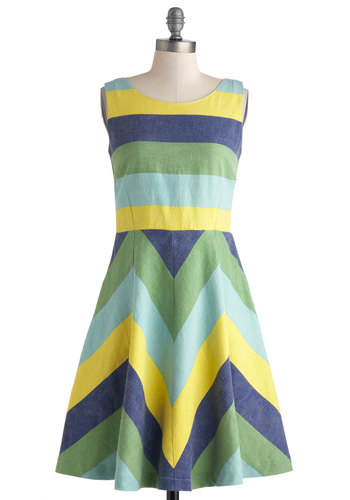 Pizzazz on the Piazza Dress by Knitted Dove - Stripes, Casual, Sleeveless, Spring, Mid-length, Yellow, Green, Blue, Buttons, A-line, Scoop, Pockets, Beach/Resort, Chevron