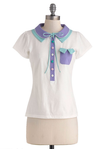 Pastel Me a Story Top by Di K Si - White, Solid, Bows, Buttons, Peter Pan Collar, Pockets, Casual, Short Sleeves, International Designer, Mid-length, Green, Purple, Pink, Work, Vintage Inspired, Scholastic/Collegiate, Cotton, Collared