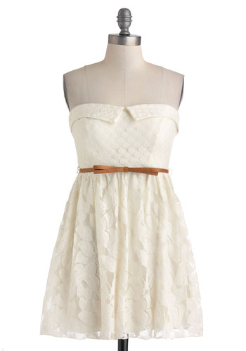 Celebratory Dinner Date Dress - Cream, Solid, Bows, Lace, Belted, Casual, A-line, Strapless, Sweetheart, Summer