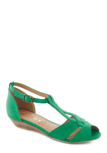 Stylish Sidekick Wedge in Emerald by Chelsea Crew - Low, Faux Leather, Green, Daytime Party, Wedge, Peep Toe, Variation, Summer, T-Strap