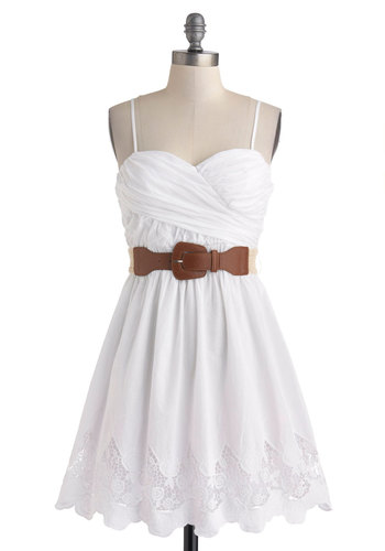 Country Craft Festival Dress - Cotton, White, Solid, Lace, Belted, Ruching, Casual, A-line, Spaghetti Straps, Sweetheart, Graduation