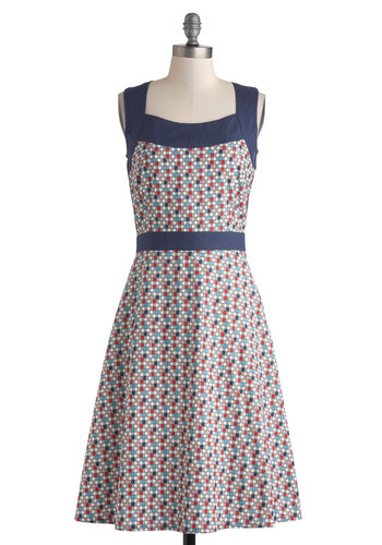 Honeycomb Away From Home Dress by Mata Traders - Cotton, Long, Blue, Multi, Print, Casual, A-line, Sleeveless, Eco-Friendly