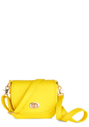 Twist and Clout Bag in Lemon - Faux Leather, Yellow, Solid, Casual, Neon, Gold, Variation, Pinup