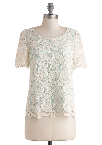 Walking on Cloud Nine Top - Sheer, Mid-length, Cream, Lace, Short Sleeves, Mint, Work, Daytime Party, Vintage Inspired, French / Victorian, Scoop, White, Short Sleeve