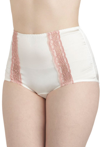 Truly Pampered Undies in White - White, Pink, Solid, Lace, Vintage Inspired, 50s, High Waist, Pinup, 40s, Fairytale, Pastel, Boudoir