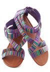 Art Camp Counselor Sandals - Purple, Multi, Stripes, Summer, Flat, Faux Leather, Casual, Boho, Strappy