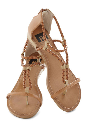 Desert Stroll Sandal in Dune by BC Shoes - Tan, Tan / Cream, Solid, Braided, Low, Casual, Boho, Summer, Faux Leather, Strappy, Variation