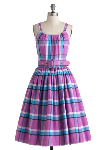 Festival of Fashion Dress - Cotton, Long, Purple, Blue, White, Checkered / Gingham, Belted, Daytime Party, Fit & Flare, Spaghetti Straps, Scoop, Pockets