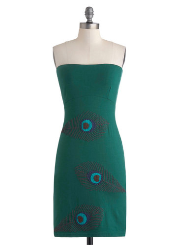 You Feather Believe It Dress - Short, Green, Blue, Brown, Embroidery, Party, Bodycon / Bandage, Strapless, Eco-Friendly, Gifts Sale, Casual