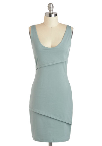 Rain Catcher Dress in Dew - Mid-length, Green, Solid, Casual, Bodycon / Bandage, Tank top (2 thick straps), Scoop, Minimal, Eco-Friendly, WPI