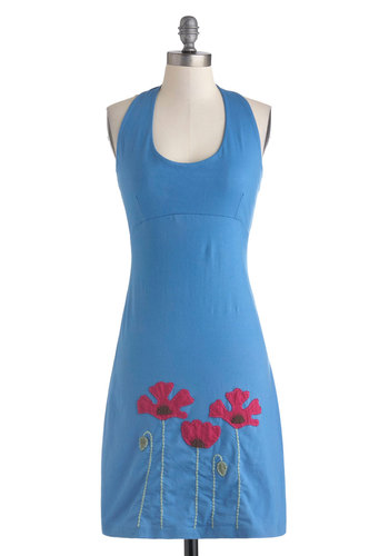 Sprout of the Blue Dress - Mid-length, Cotton, Blue, Red, Cutout, Embroidery, Casual, Sheath / Shift, Halter, Scoop, Solid, Eco-Friendly