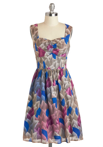 Faceted Fronds Dress - A-line, Casual, Sleeveless, Spring, Blue, Purple, Grey, Print, Backless, Sweetheart, Cotton, Mid-length
