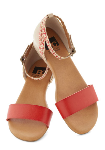 Lakeview Lodge Sandal by BC Footwear - Red, White, Solid, Braided, Low, Wedge, Beach/Resort, Summer, Faux Leather, Variation