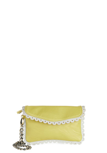 Lemon Limeade Clutch by Darling - Yellow, White, Solid, Trim, Neon, Chain, International Designer, Faux Leather