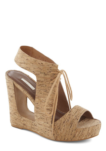 State of the Architectural Wedge - Tan, Solid, Cutout, Wedge, High, Leather, Platform, Statement, Lace Up, Party, Girls Night Out, Vintage Inspired, 70s, Summer