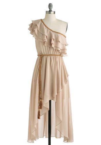 Desert in the Distance Dress - Short, Tan, Gold, Solid, Ruffles, Tiered, Belted, Party, A-line, One Shoulder, Boho, Summer