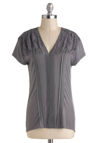 One Grey or Another Top - Mid-length, Jersey, Grey, Solid, Lace, Casual, Short Sleeves, V Neck, Travel