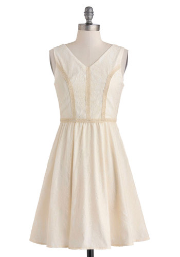 California Gleaming Dress - Solid, Daytime Party, A-line, Sleeveless, Mid-length, White, Tan / Cream, Lace, Trim, V Neck, Graduation, Wedding, Bride