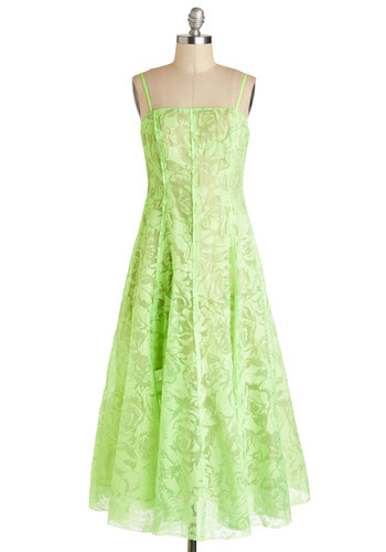 Tracy Reese Neon Breeze Dress by Tracy Reese - Long, Sheer, Green, Floral, Formal, A-line, Spaghetti Straps, Prom, Lace, Neon, Maxi