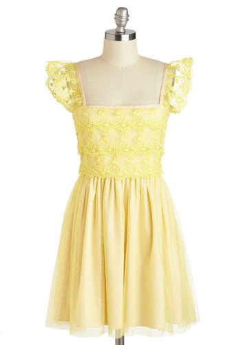 Fit for a Princess Dress by Di K Si - Yellow, Solid, Lace, Party, Empire, Tank top (2 thick straps), International Designer, Mid-length, Ruffles, Vintage Inspired, Luxe, Fairytale, Prom