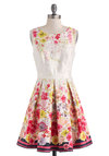 Palette of Passion Dress by Max and Cleo - Cotton, Mid-length, Multi, Floral, Pleats, Daytime Party, A-line, Sleeveless, Boat, Graduation, Spring