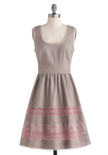 Al Fresco or Nothing Dress - Cotton, Mid-length, Tan, Pink, Solid, Party, A-line, Tank top (2 thick straps), Scoop, Crochet, Daytime Party