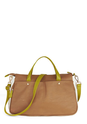 A-list Minimalist Bag - Brown, Solid, Colorblocking, Green, Minimal, Faux Leather