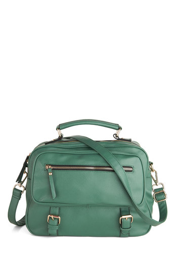 Green with Ivy Bag - Green, Solid, Buckles, Exposed zipper, Work