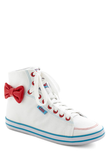 State of Playful Sneaker - White, Red, Blue, Solid, Bows, Casual, Vintage Inspired, 80s, 90s, Flat, Lace Up