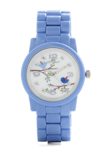 Always an Early Bird Watch - Blue, Print with Animals, Casual, White, Eco-Friendly