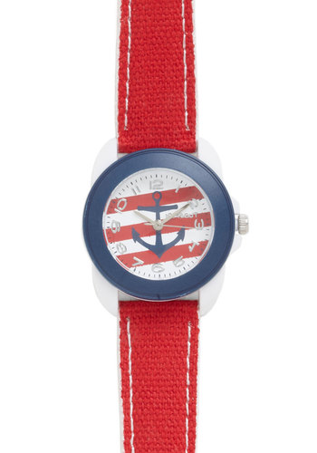 Launch Break Watch - Red, Blue, White, Solid, Stripes, Casual, Nautical, Eco-Friendly, Pinup