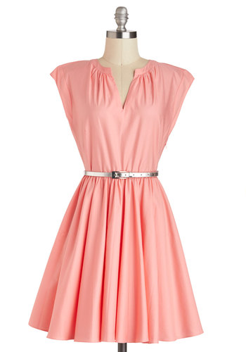 Dancing Cheek to Chic Dress by BB Dakota - Cotton, Mid-length, Pink, Solid, Belted, Cap Sleeves, Wedding, Daytime Party, Pastel, Fit & Flare, V Neck, Graduation, Bridesmaid