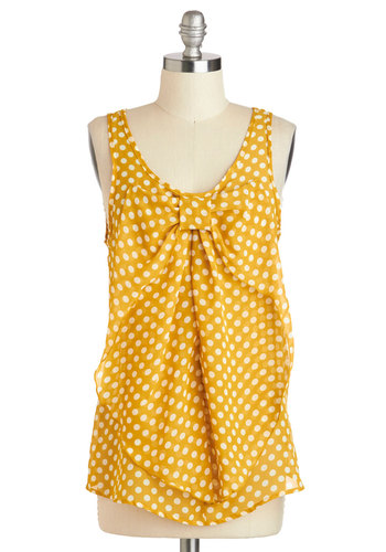 Hello, Bow! Top in Dotted Yellow - Sheer, Mid-length, Yellow, White, Polka Dots, Bows, Casual, Sleeveless, Work, Variation, Scoop, Summer