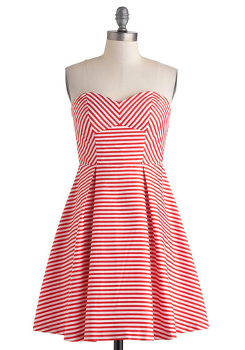 Just Like Stroll Times Dress - Nautical, Red, White, Stripes, Pleats, Party, Strapless, Sweetheart, Fit & Flare, Mid-length