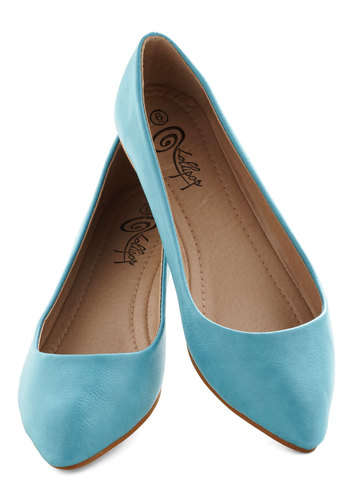 Defined the Scenes Flat in Turquoise - Blue, Solid, Flat, Variation, Work, Casual, Minimal, Faux Leather