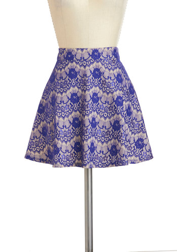 Casual Catch Up Skirt - Blue, Tan / Cream, Short, Daytime Party, Lace