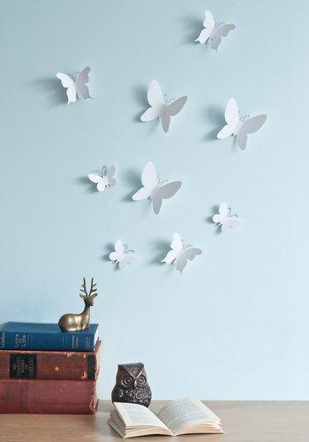 Marvelous Metamorphosis Wall Decor Set - White, Dorm Decor, Mid-Century, Good, Under $20, Critters, Wedding, Spring, Summer, Gals