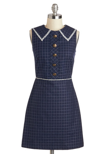 Sailing Class Dress - Cotton, Mid-length, Blue, White, Print, Buttons, Work, Sheath / Shift, Sleeveless, Collared, Nautical