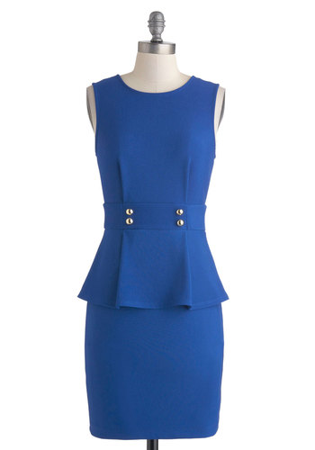 Back in Blue Dress - Blue, Solid, Buttons, Work, Peplum, Sleeveless, Crew, 60s, Mid-length
