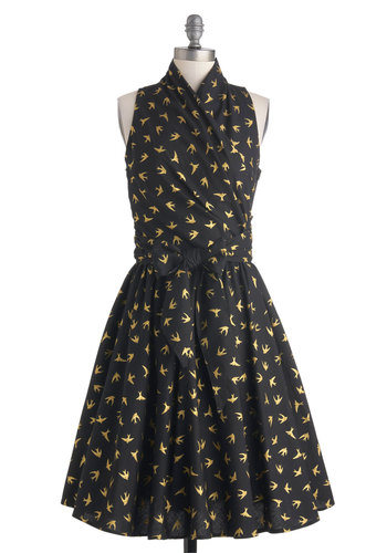Front Perch Swing Dress in Black - Print with Animals, Cotton, Black, Yellow, Belted, Party, Sleeveless, Variation, Woven, Critters, Long, Fit & Flare