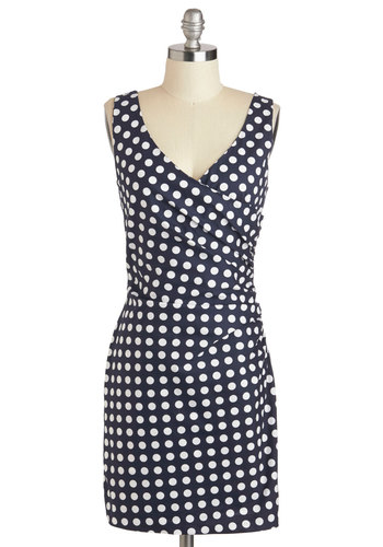 Tout de Suite Dress - Cotton, Short, Blue, White, Polka Dots, Ruching, Party, Sheath / Shift, Tank top (2 thick straps), V Neck, Pinup, Vintage Inspired, 50s, Summer